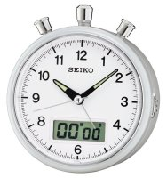 Seiko Stopwatch Count Down Sweep Snooze Light Silver