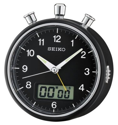 Seiko Stopwatch Count Down Sweep Snooze Light Black