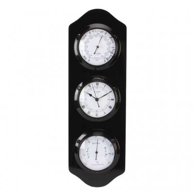 Black Barometer Thermo Clock