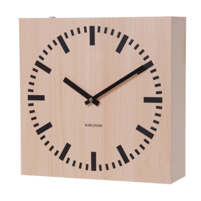 Wall Clock Karlsson Square Wood Light Double Sided Wall