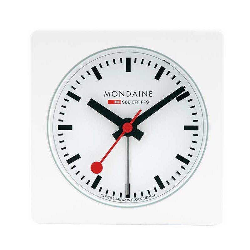 Alarm clock mondaine square alarm white alarm clocks - Mondaine wall clocks ...