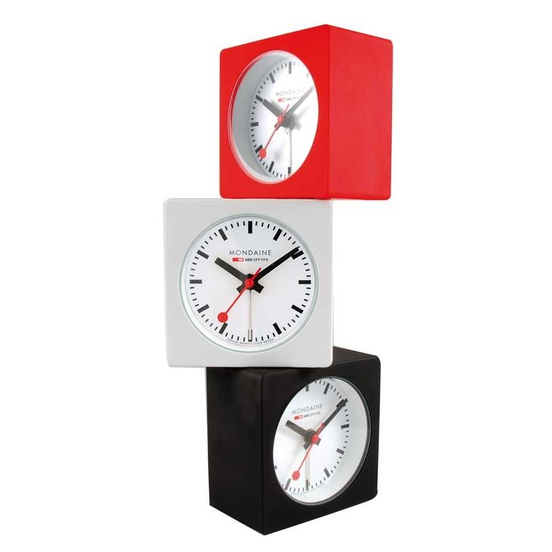 Alarm Clock Mondaine Square Alarm Red Alarm Clocks