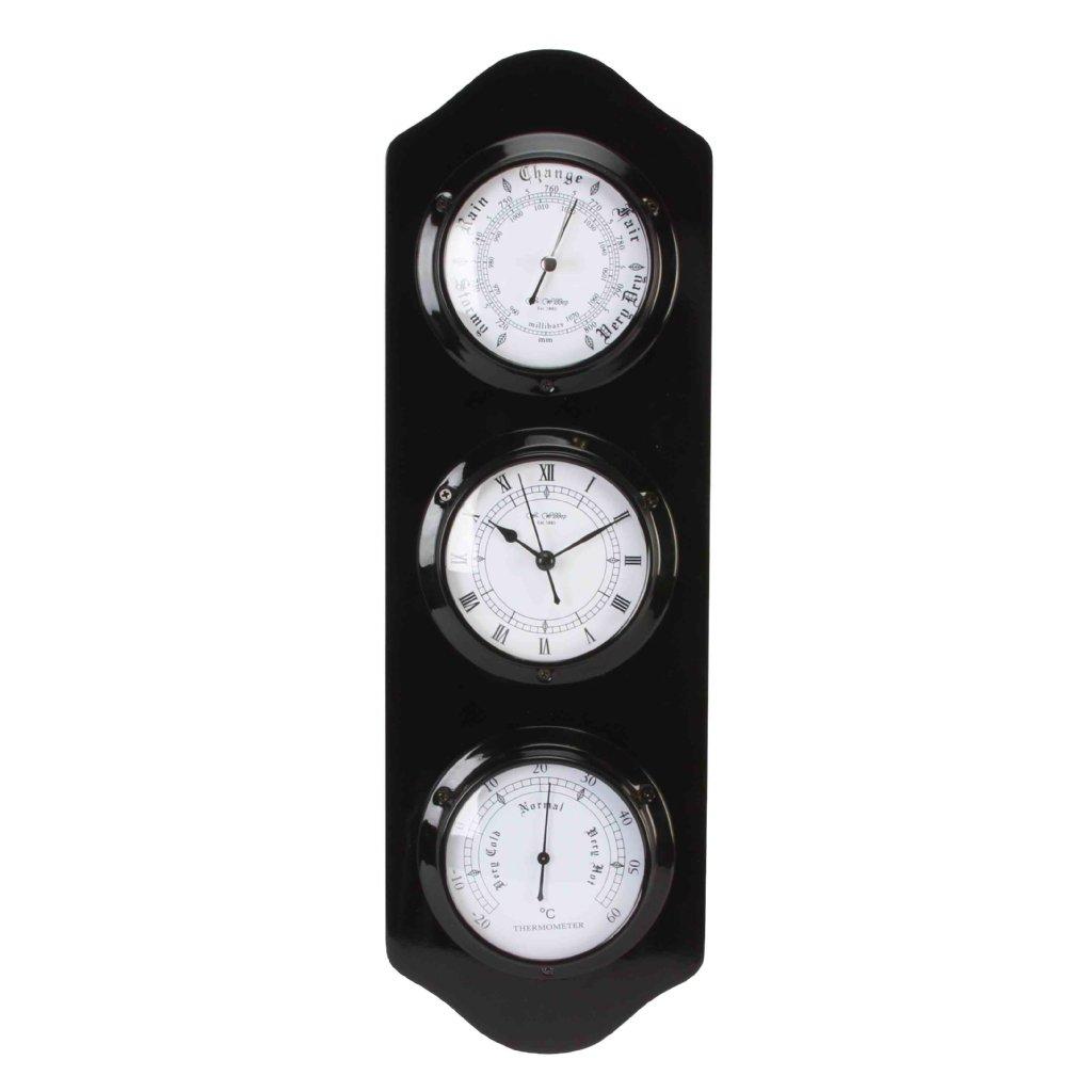 Barometer Wm Widdop Black Barometer Thermo Clock