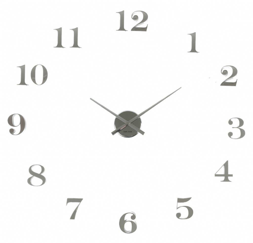 väggklocka med lösa siffror silver