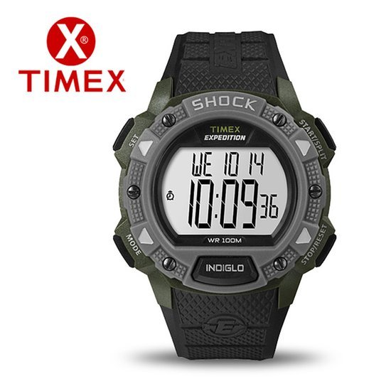 Watch Timex Expedition Lcd Shock Pusher Chronograph Grey