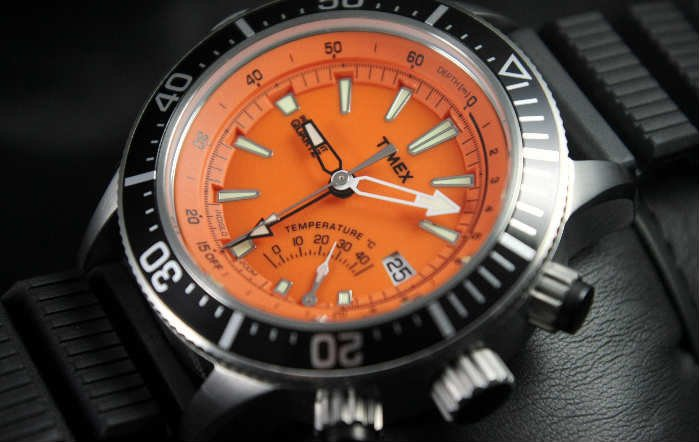 Watch Timex Intelligent Quartz Depth Gauge Thermo Orange