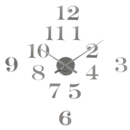väggklocka lösa siffror silver