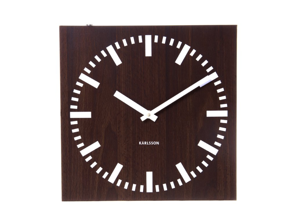 Wall Clock Karlsson Square Wood Dark Double Sided Wall