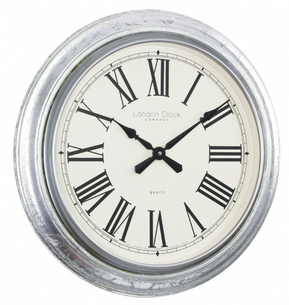 Wall Clock London Clock Company Antique Silver Leaf