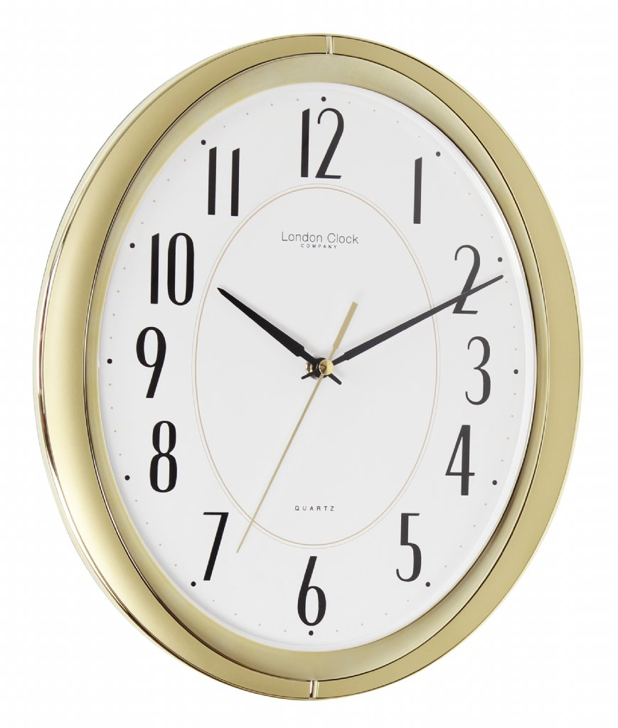 wall clock london clock company oval sweep gold wall. Black Bedroom Furniture Sets. Home Design Ideas