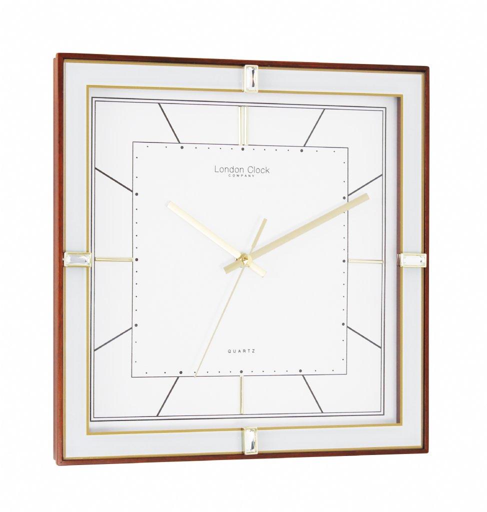 wall clock london clock company square deco sweep walnut wall clocks priisma. Black Bedroom Furniture Sets. Home Design Ideas