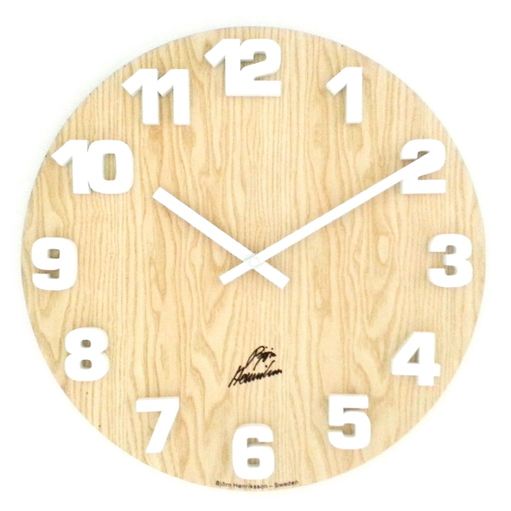 Wall Clock Bj 246 Rn Henriksson Block White Wood Wall Clock