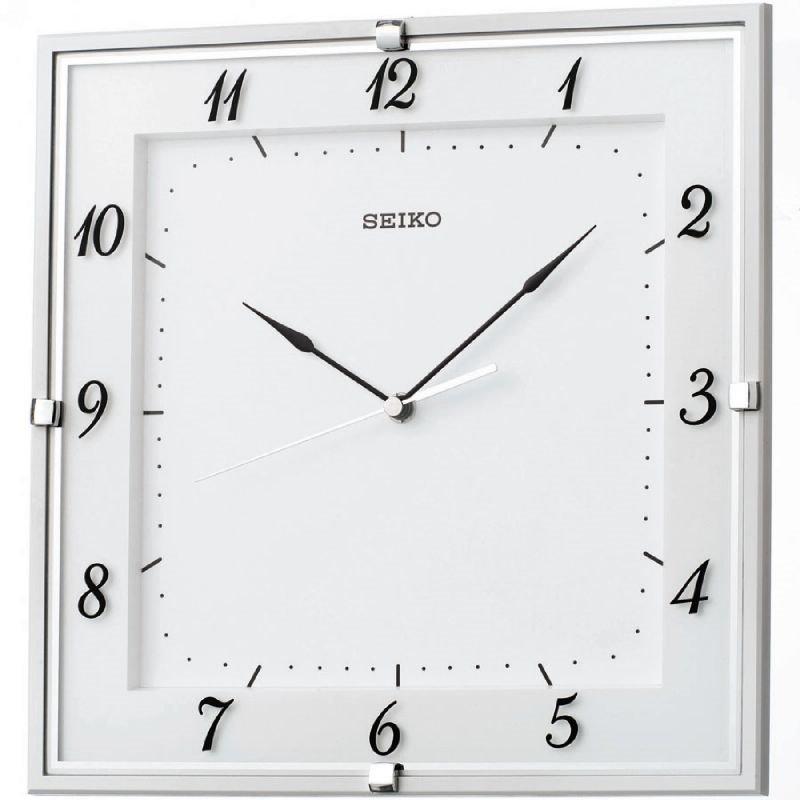 Wall Clock Seiko Italic Square Sweep White Wall Clocks