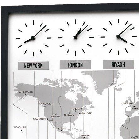 Wall Clock Seiko World Time Map Oak Pemium Wall Clocks