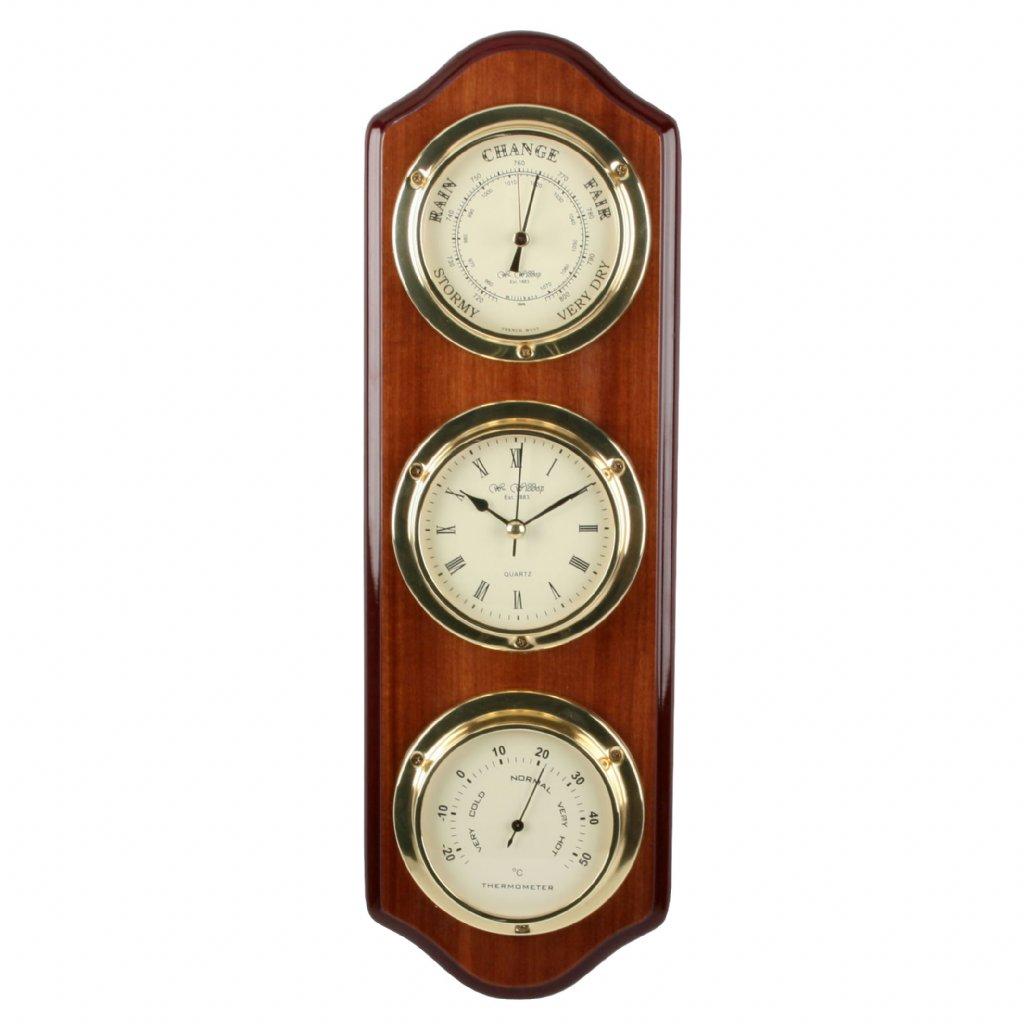 Barometer Wm. Widdop Triple Barometer Thermo Clock